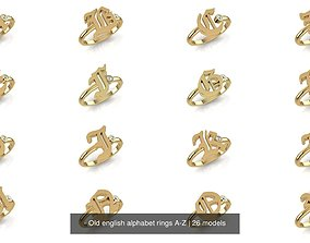 - Old english alphabet rings A-Z 3D