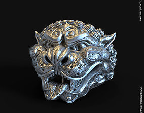 3D printable model guardian lion vol1 ring