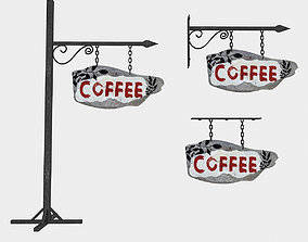 old wooden coffee sign 02 3D asset
