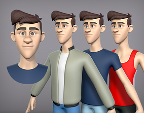 Cartoon man with 3 outfits 3D model