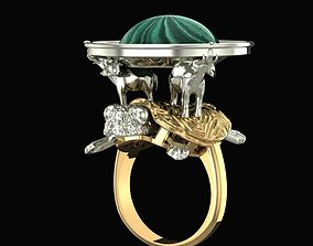 3D print model Ring Without gems Elephants on a