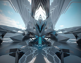 3D model Throne room futuristic