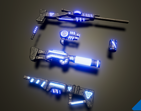 3D asset Scifi weapons set