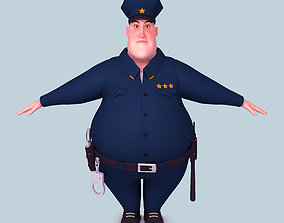 3D model fat Cartoon Policeman