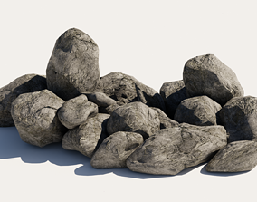 low-poly 11 LowPoly realistic Rocks Nature Assets