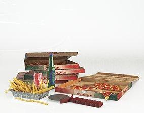 3D model pizza box set