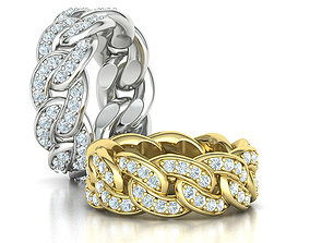 DIAMOND Cuban Link Heavy Chain Ring 9mm Wide 8US Size