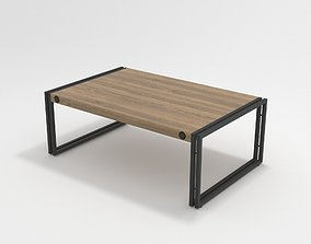 3D model Moes industrial Wood Coffee Table with Metal