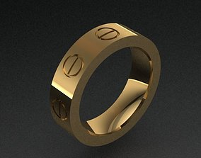 Golden Band Ring With 8 Screws Size 8 3D printable model