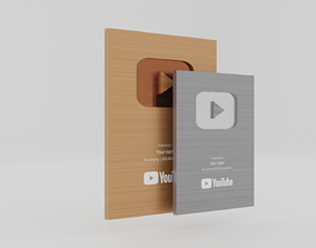 YouTube Gold and Silver Play Buttons 3D asset