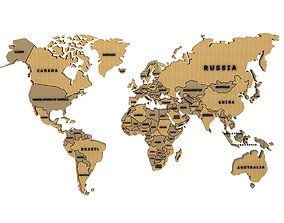world map with country names 3D model