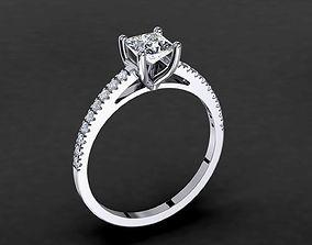 Engagement Princess Diamond Ring 0010 3D printable model