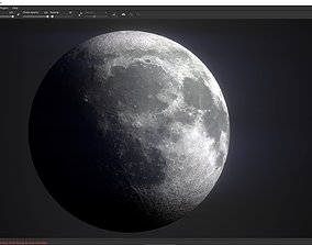 game-ready Photorealistic Moon Low-poly 3D model