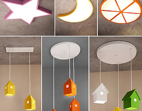 Ceiling lamps set 027 3D model