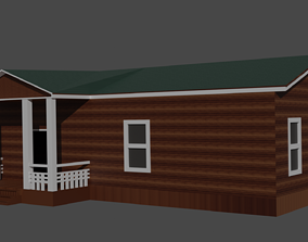 3D model American wooden house