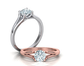 Solitaire Engagement ring Split Shank 3D print model 2
