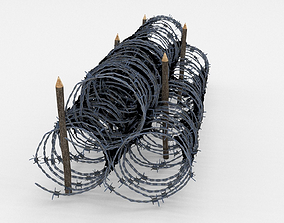 3D model Low Poly Barb Wire Obstacle