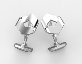 sexangle 3D print model hexagon cufflinks 3 versions
