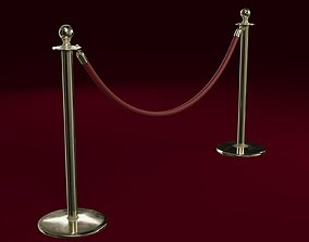3D model Stanchion and a Red Velvet Rope