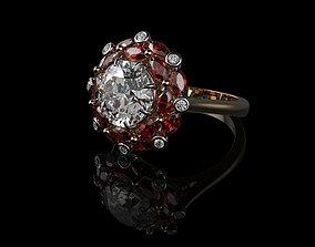 vintag Ruby And Diamond Rings 3D print model