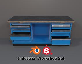 3D model low-poly Industrial Workshop WorkBench 2 PBR