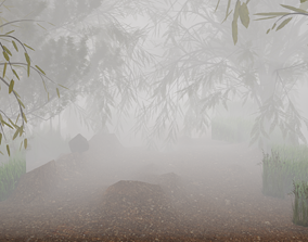 3D asset forest in morning