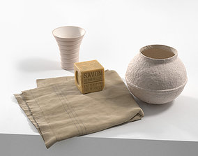3D model Soap on Towel with Vases