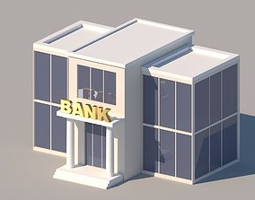 3D model Cartoon Low Poly Bank Building