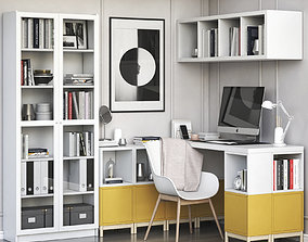 3D Corner workplace with EKET and BILLY OXBERG bookcase