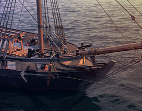 3D Brig sail ship Exuberant