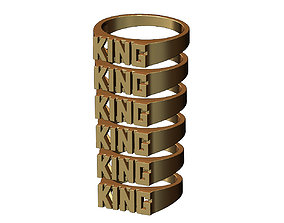 King rectangular name ring 3D print model