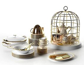 3D Tureen Stacks of Plates Cutlery and Cage Tea Set