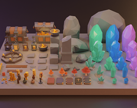 Low Poly Fantasy Items Pack 3D asset VR / AR ready