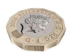 3D asset New British Pound Coin