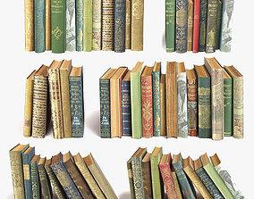 folded old books on a shelf set 11 3D