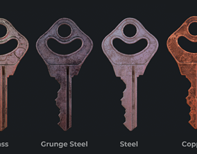Metal key for the door lock 3D asset realtime