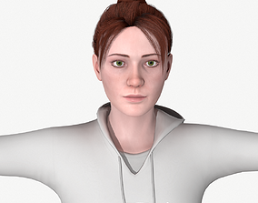 3D model Young woman rigged