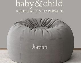 WASHED VELVET BEAN BAG COVER - JORDAN 3D model