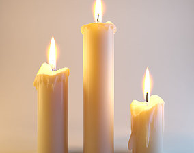 3D model Three melted candles