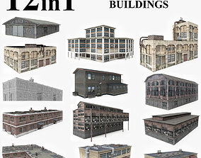 12 Factory and Warehouse Buildings Collection 3D model