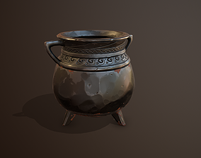 3D asset Iron Cauldron Gameready Pan