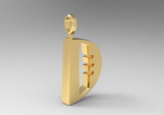 D Letter Pendant Gold