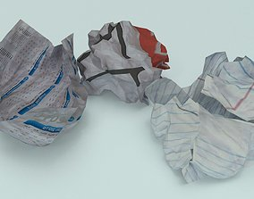 3D asset crumpled paper ball - Game-Ready
