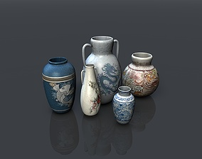 3D model Low poly asian pottery collection