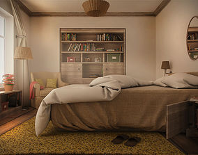 3D Farmhouse Bedroom Day and Night