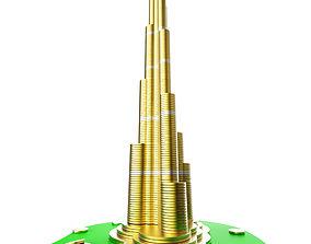 Burj Khalifa building consisting from golden coins 3D