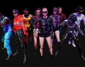 3D asset cyberpunk chars A