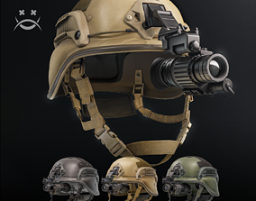 3D model low-poly Tactical helmet