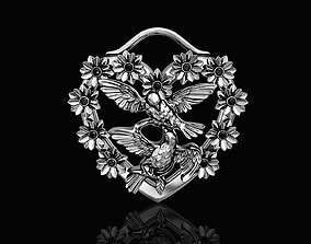 Birds in heart bouquet pendant 3D printable model