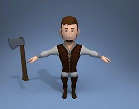Medieval character lumberjack 3D asset